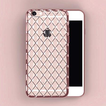 Luksusowe etui Diamonds iPhone 6 silikonowe platynowane tpu różowe.