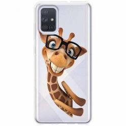 Etui na Samsung Galaxy A71 - Żyrafa w okularach.