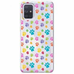 Etui na Samsung Galaxy A71 - Kolorowe psie łapki.
