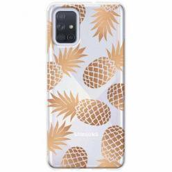 Etui na Samsung Galaxy A71 - Złote ananasy.