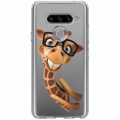 Etui na LG K50s - Żyrafa w okularach.