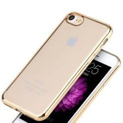 Etui na iPhone SE 2020 silikonowe platynowane SLIM kolor - złoty.