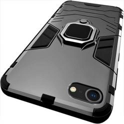 Etui na iPhone SE 2020 - Pancerne Magnet Ring - Czarny.