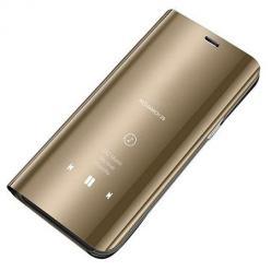 Etui na  Huawei Y6P Flip Clear View z klapką - Złoty.