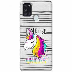 Etui na Samsung Galaxy A21s - Time to be unicorn - Jednorożec.