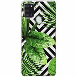 Etui na Samsung Galaxy A21s -  Egzotyczne liście bananowca.