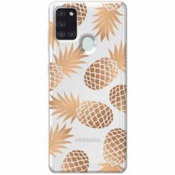 Etui na Samsung Galaxy A21s - Złote ananasy.
