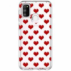Etui na Samsung Galaxy M21 - Czerwone serduszka.