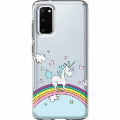 Etui na Samsung Galaxy S20 Plus - Jednorożec na tęczy.