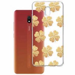 Etui na Xiaomi Redmi 8A - Złote koniczynki.