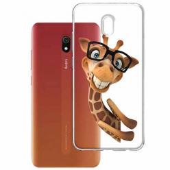 Etui na Xiaomi Redmi 8A - Wesoła żyrafa w okularach.