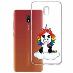 Etui na Xiaomi Redmi 8A - Tęczowy jednorożec na chmurce.