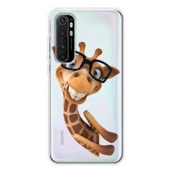 Etui na Xiaomi Mi Note 10 Lite - Wesoła żyrafa w okularach.