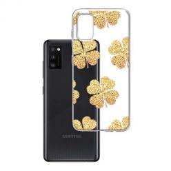 Etui na Samsung Galaxy A41 - Złote koniczynki.