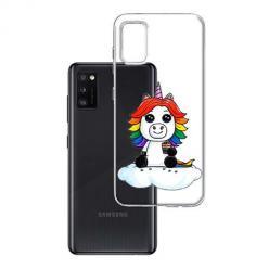 Etui na Samsung Galaxy A41 -  Tęczowy jednorożec na chmurce.