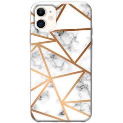 Etui na telefon Slim Case - Biały marmur w trójkąty