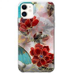 Etui na telefon Slim Case - Czerwone kwiaty pozłacane
