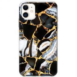Etui na telefon Slim Case - Czarny marmur złocony