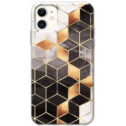 Etui na telefon Slim Case - Złote romby geometryczne