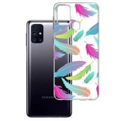 Etui na Samsung Galaxy M31s - Tęczowe piórka.