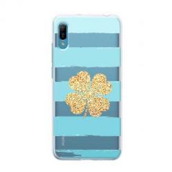 Etui na Huawei Y6 Pro 2019 - Złota czterolistna koniczyna.