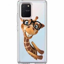 Etui na Samsung Galaxy S10 Lite - Wesoła żyrafa w okularach.