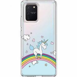 Etui na Samsung Galaxy S10 Lite - Jednorożec na tęczy.