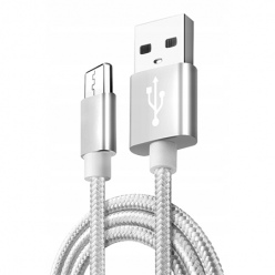 Kabel Micro-USB do Samsung Galaxy QUICK CHARGE 3.0 - Srebrny.