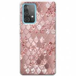 Etui na Samsung Galaxy A52 5G Brokatowe łuski rózowe