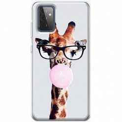 Etui na Samsung Galaxy A72 5G Żyrafa w okularach z gumą