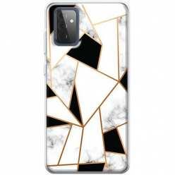 Etui na Samsung Galaxy A72 5G Biały marmur geometryczny