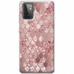 Etui na Samsung Galaxy A72 5G Brokatowe łuski rózowe