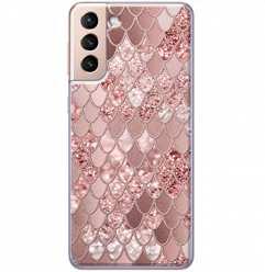 Etui na Samsung Galaxy S21 Plus Brokatowe łuski rózowe