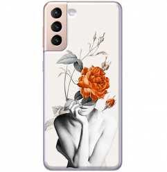 Etui na Samsung Galaxy S21 Plus Abstrakcyjna Kobieta z różami