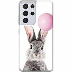 Etui na Samsung Galaxy S21 Ultra Wesoły królik z balonikiem