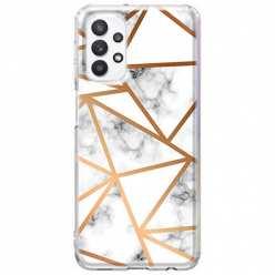 Etui na Samsung Galaxy A32 5G Biały marmur w trójkąty