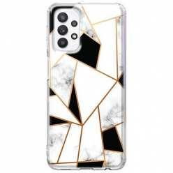 Etui na Samsung Galaxy A32 5G Biały marmur geometryczny
