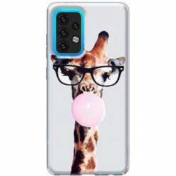 Etui na Samsung Galaxy A02s Żyrafa w okularach z gumą