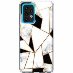 Etui na Samsung Galaxy A02s Biały marmur geometryczny