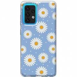 Etui na Samsung Galaxy A02s Stokrotki na niebieskim tle