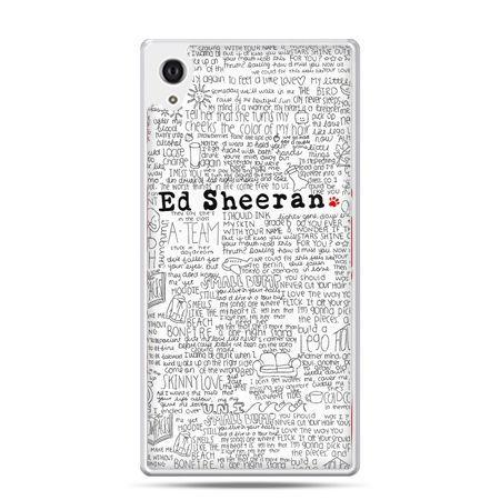 Etui na Xperia M4 Aqua Ed Sheeran białe poziome