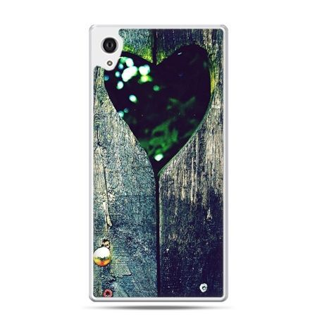 Etui na Xperia M4 Aqua drewniane serce