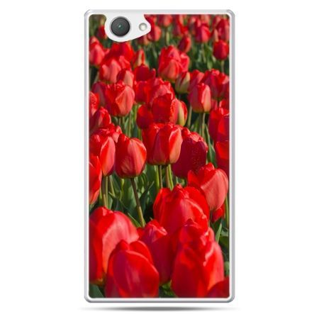 Xperia Z1 compact etui czerwone tulipany