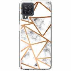 Etui na Samsung Galaxy M12 Biały marmur w trójkąty