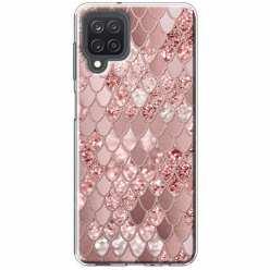 Etui na Samsung Galaxy M12 Brokatowe łuski rózowe