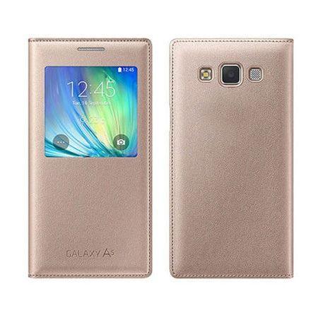 Samsung Galaxy A5 2015 pokrowiec Flip S View z klapką - Złoty