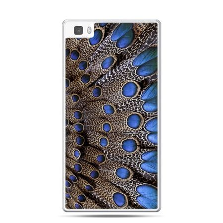 Huawei P8 Lite etui niebieskie pióra