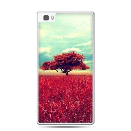 Huawei P8 Lite etui czerwone drzewo