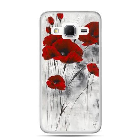 Etui na telefon Galaxy Grand Prime czerwone maki