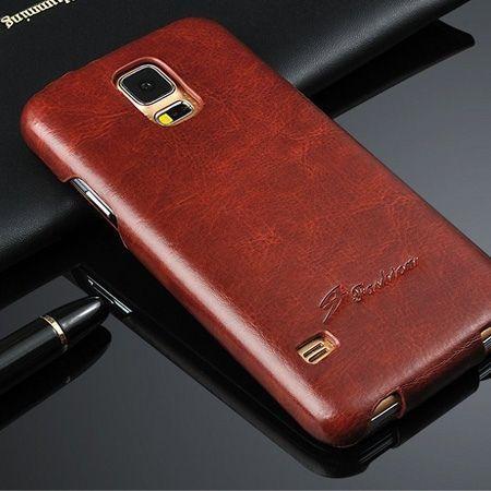 Galaxy S5 etui skórzane z klapką brązowy